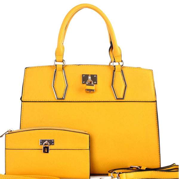 Padlock Accent Structured Satchel Purse and Wallet SET