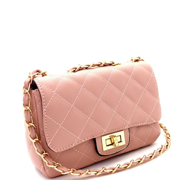 Quilted Turn-Lock Chain Cross Body Shoulder Bag