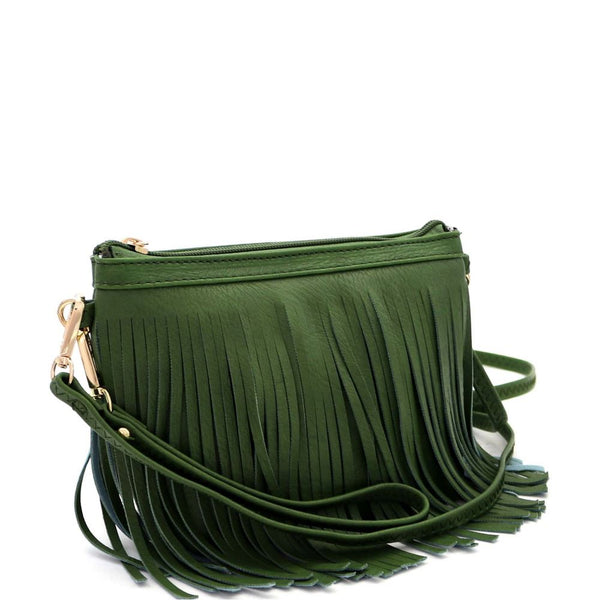 PU Leather Both Side Fringed Bohemian Small Wristlet Cross Body