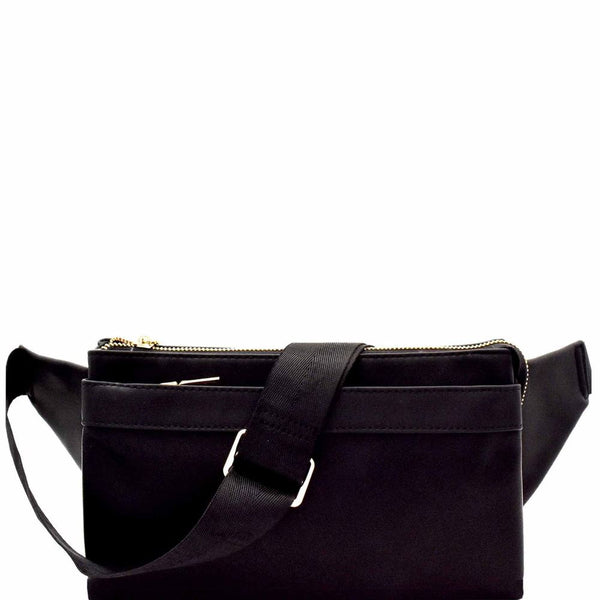 Multi-compartment Versatile Unisex PU Leather Fanny Pack Sling Bag