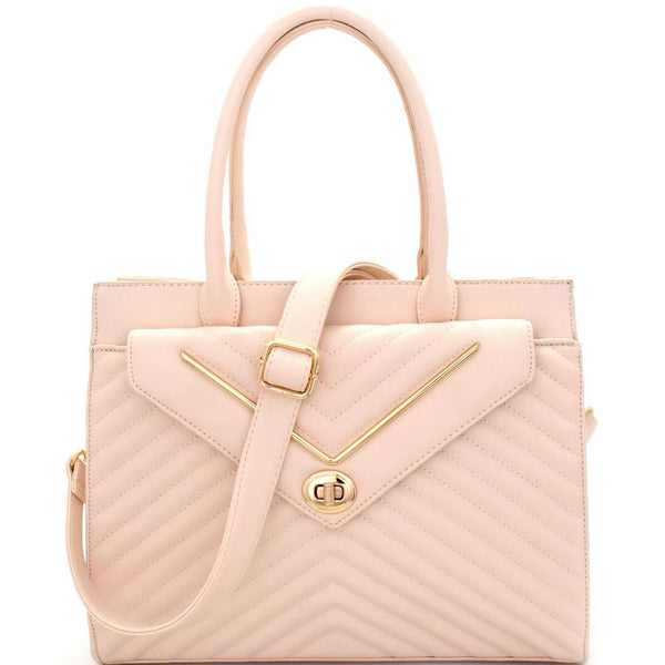 Chevron Pattern Quilted Turn-Lock Structured Satchel