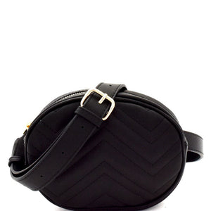 Chevron Quilted Pattern Fashion Round Fanny Pack