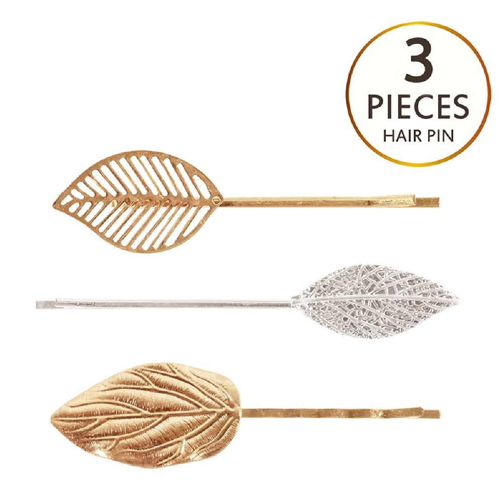 Metal Filigree Leaf 3 Piece Hair Pin Set