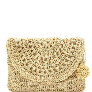 Natural Knitted Crochet Straw Pom Pom Boho Flap Clutch