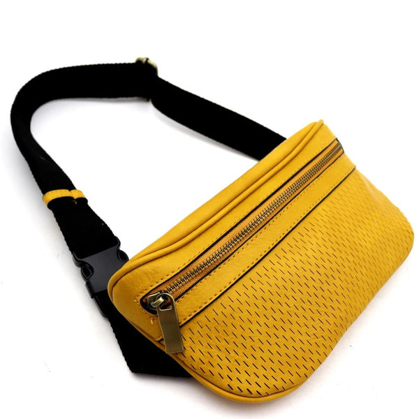 Perforated Fashion PU Leather Fanny Pack Sling Bag