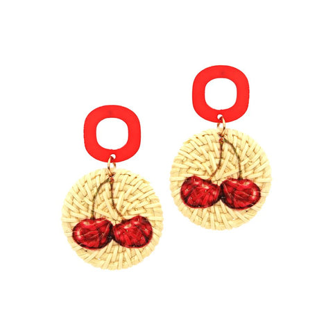 Cherry Print Straw Acrylic Post Novelty Earring Red