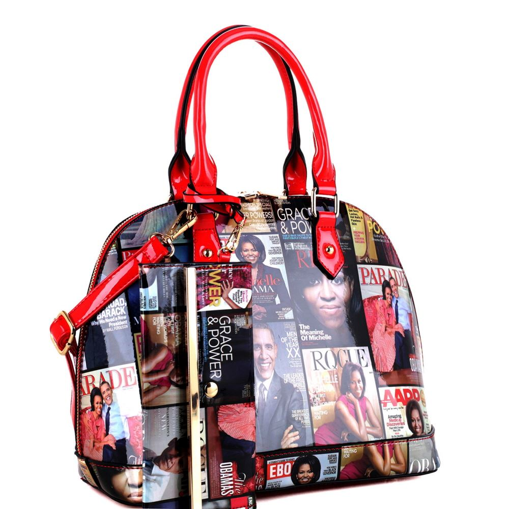 Hologram Patent PU Leather Michelle Obama Magazine Cover Print 2 in 1 Dome Satchel Purse Handbag SET