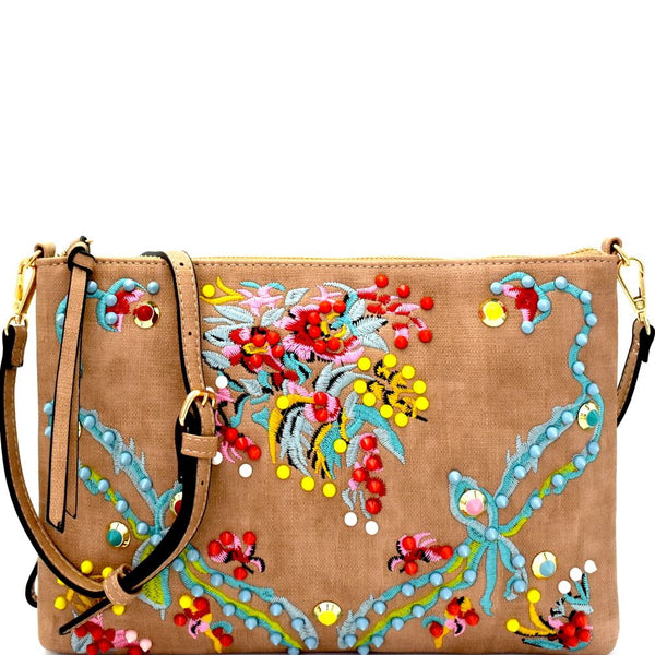 Colorful Studs Embellished Embroidered Textured Clutch