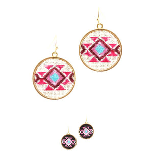Navajo Aztec Tribal Embroidery Fish Hook Round Dangle Earring