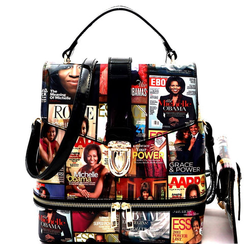 Michelle Obama Magazine Print 2 in 1 Convertible Backpack Satchel Bag