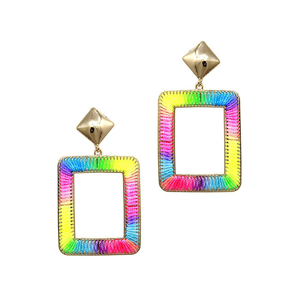 Mixed Neon Color Thread Open-cut Boho Square Earring