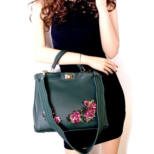 Sequin Embellished Flower Patch Turn-Lock Large Dressy PU Leather Satchel Purse Handbag