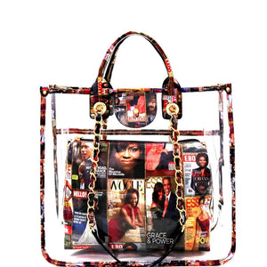 Michelle Obama Magazine Print 2 in 1 Transparent Clear Satchel Purse