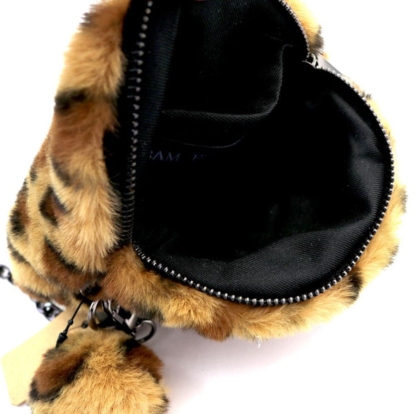 Leopard Print Pom Pom Accent Faux-fur Round Cross Body Bag