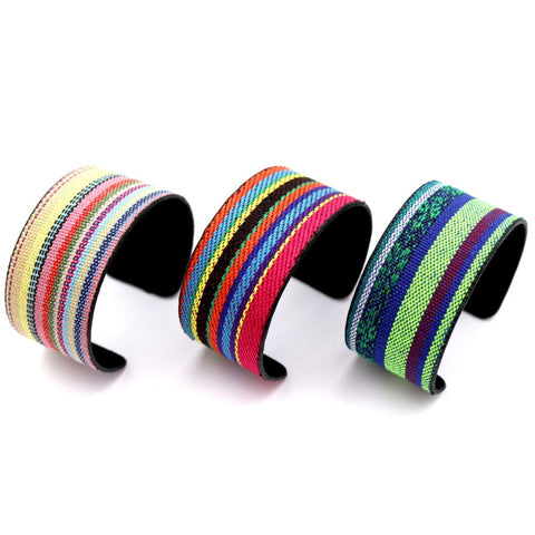 Ethnic Tribal Serape Pattern Canvas Boho Open-cut Cuff Bracelet