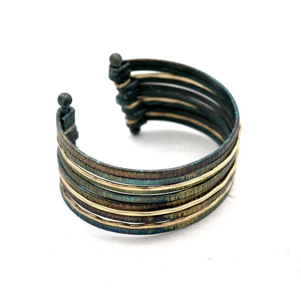 Multicolored Metal Layered Bangle Open-cut Cuff Bracelet