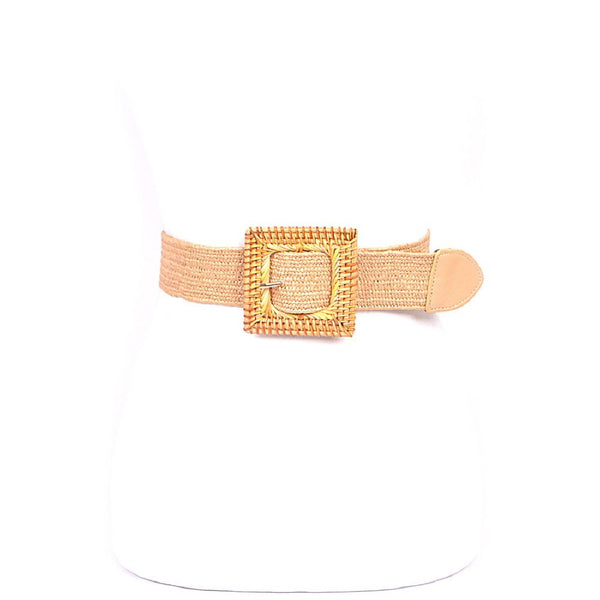 Natural Bamboo Straw Buckle Elastic Belt