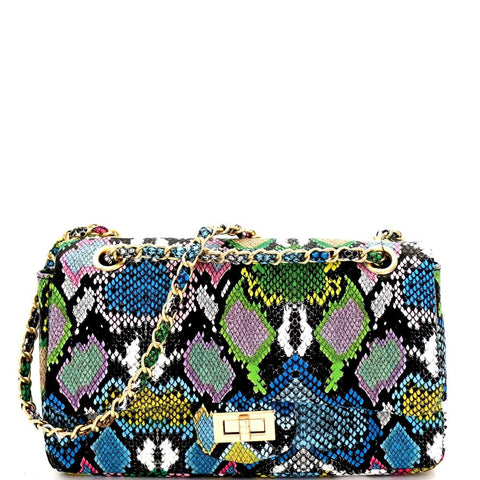 Multi-Colored Snake Print Turn-Lock Flap 2-Way Shoulder Bag