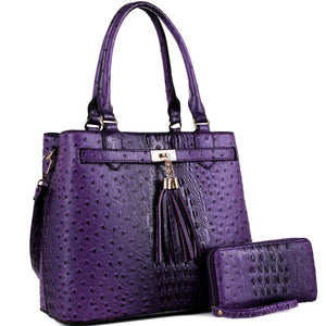 Tassel Accent Ostrich Print 2-Way Tote Bag and Wallet SET