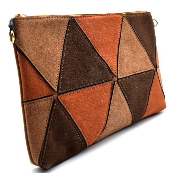 Geometry Patchwork Felt-Suede Zip-top Clutch
