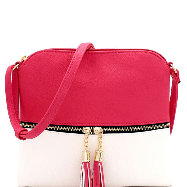 Two-Tone Front Pocket Tassel Accent PU Leather Cross Body Bag