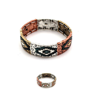 Carved Aztec Pattern Mixed Color Metal Elastic Bracelet