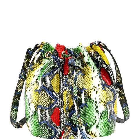 Snake Print Medium Drawstring Shoulder Bag