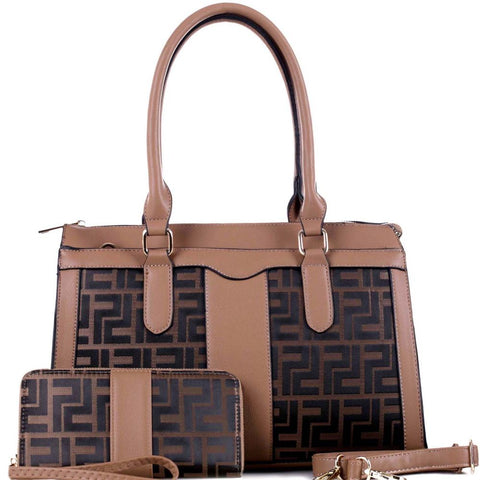 Monogram Structured 2-Way Tote Bag and Wallet SET