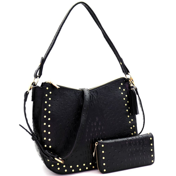 Tassel Accent Studded Ostrich Print 2-Way Hobo Bag and Wallet SET