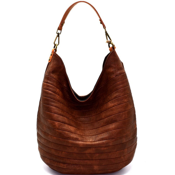 Embossed PU Leather Two-Tone Hobo Bag Purse