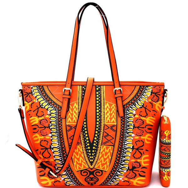 Ethnic Dashiki Print Shopper Tote Purse and Wallet SET