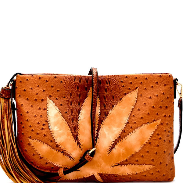 Large Leaf Accent Ostrich Print Embossed Tassel Oversized Clutch