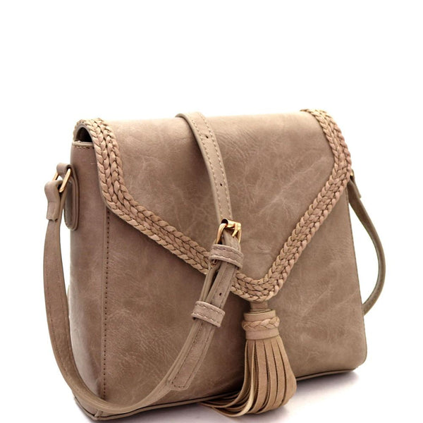 Tassel Accent Braided Flap PU Leather Cross Body Shoulder Bag