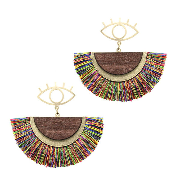 Metal Evil Eye Thread Pan Tassel Half Moon Wood Boho Dangle Earring