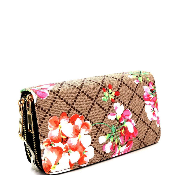 Checker Flower Print Double Zip-Around Wallet