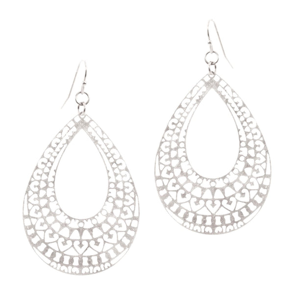 Metal Filigree Open-cut Teardrop Earring