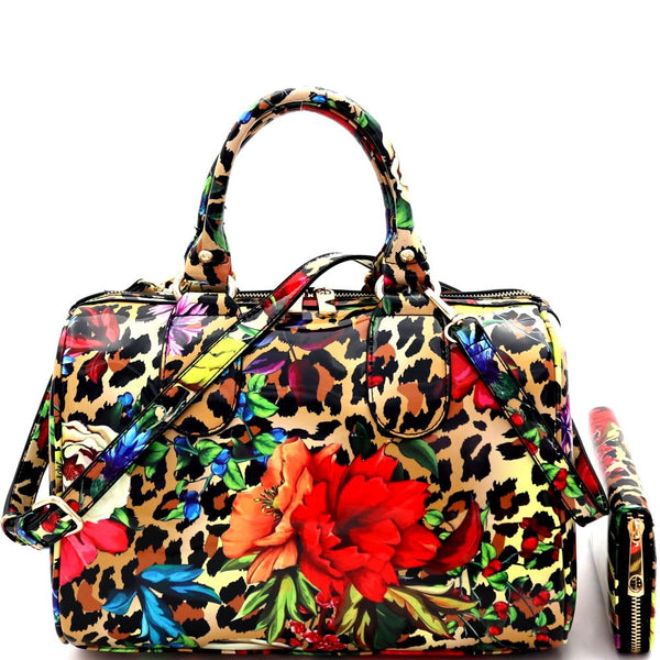 Flower Leopard Print Patent 2-Way Boston Doctor Satchel Bag and Wallet SET
