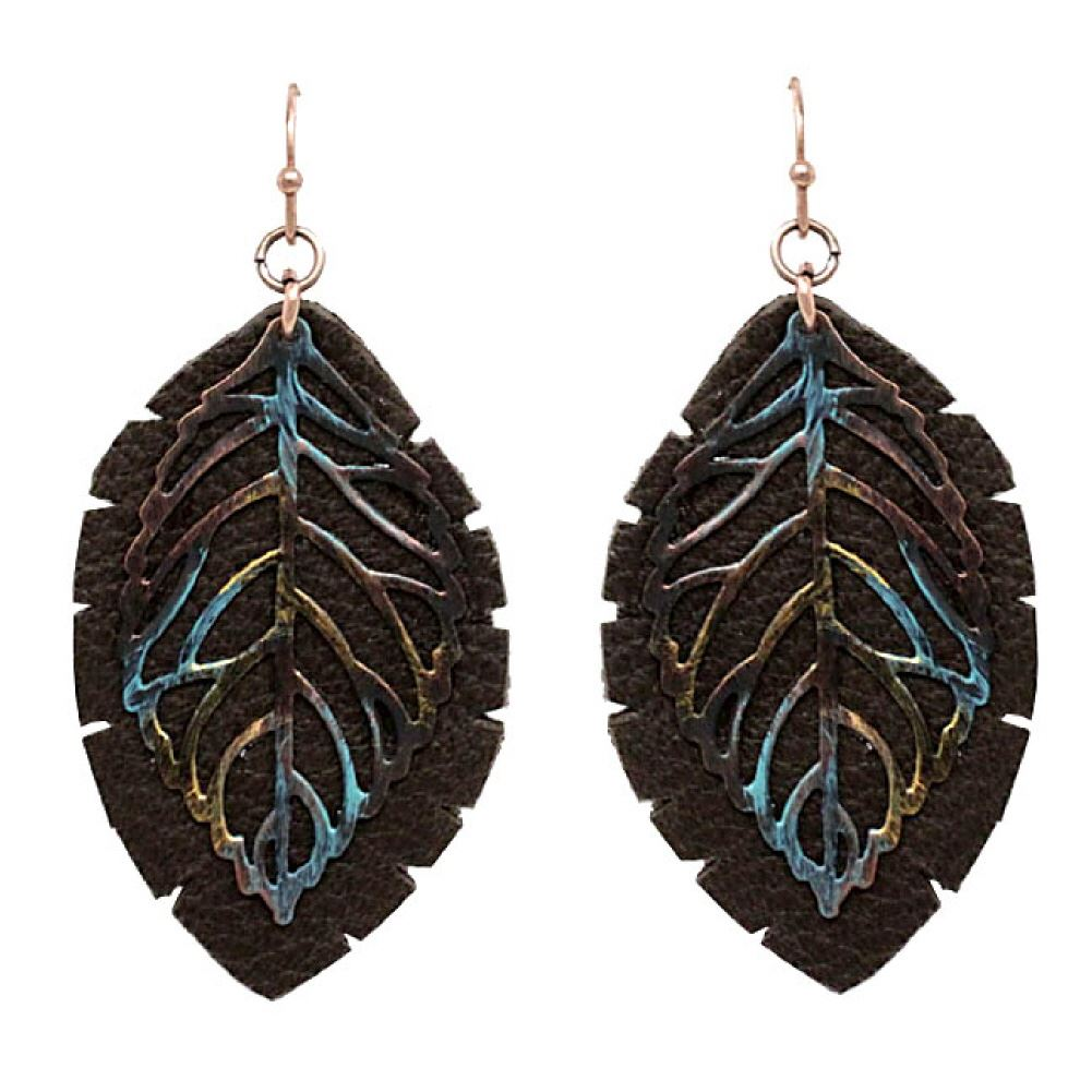 Metail Filigree Layer Leather Leaf Earring