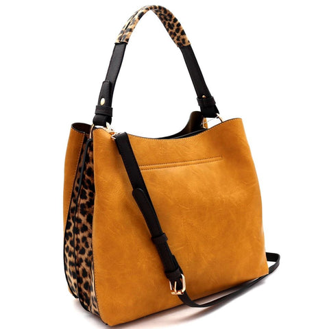 Leopard Print Side Double-Compartment 2-Way Hobo Bag