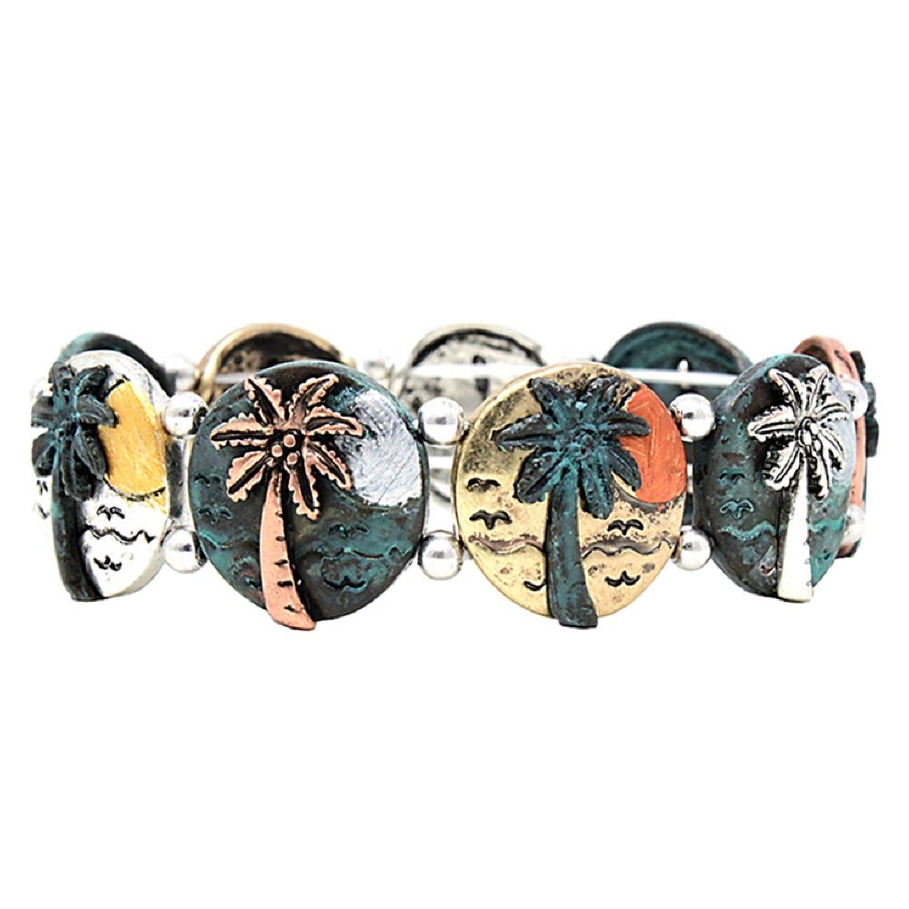 Multicolored 3D Palm Tree Round Metal Charm Elastic Bracelet