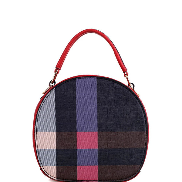 Plaid Checker Print 2-Way Medium Round Satchel Shoulder Bag