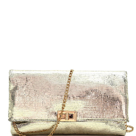 Turn-Lock Accent Textured Metallic Fold-Over Clutch