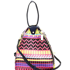 Colorful Tribal Print Unique Dome-Shape Shoulder Bag