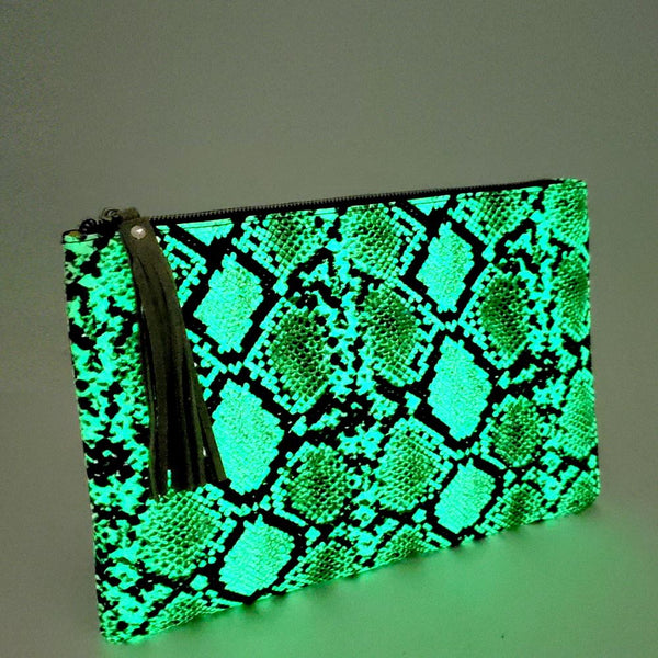 Glow in the Dark Luminescent Snake Print Large Hand Clutch