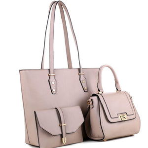 PU Leather Classy 3 in 1 Shopper Tote with Satchel bag and Clutch SET