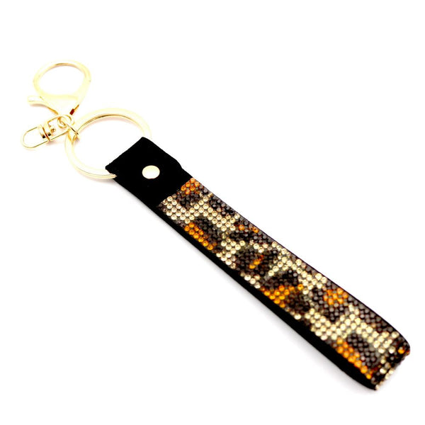 Rhinestone Embellished Grip Strap Key Chain