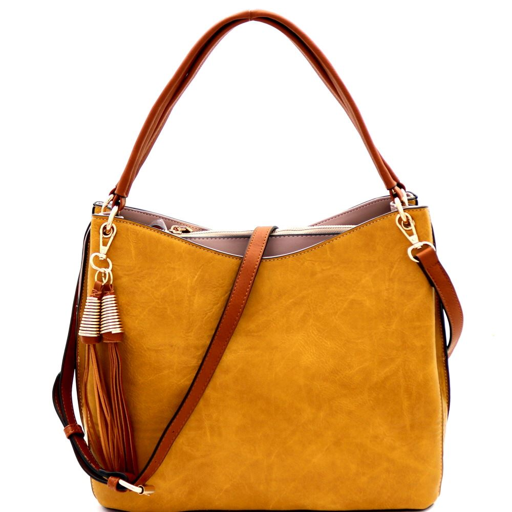 Tassel Accent Multi-Compartment Two-Tone PU Leather Hobo Purse Bag