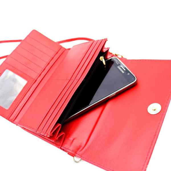 Bow Accent Smartphone Friendly Kiss-Lock Wallet CrossBody