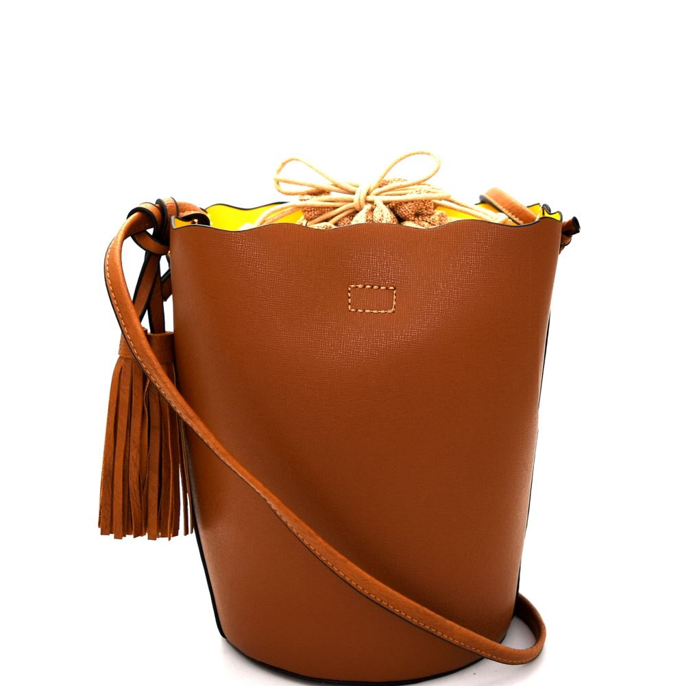 Tassel Accent Linen Lining Drawstring Bucket Shoulder Bag