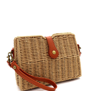 Woven Straw Flap Shoulder Bag Cross Body Bag